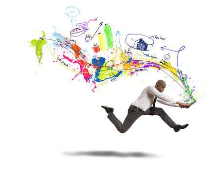 Concept van de creatieve zakelijke met het runnen van zakenman