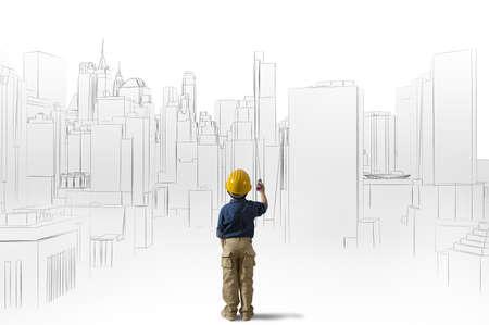 Gran ambición de un joven arquitecto Foto de archivo