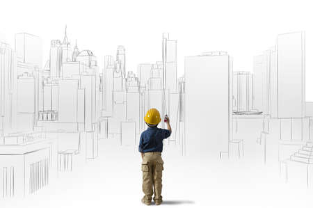 Grote ambitie van een jonge architect Stockfoto