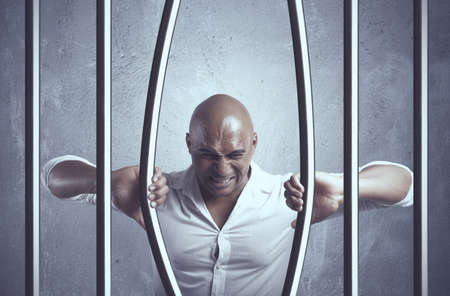 penitenciaria: Concepto de escape del problema de negocio Foto de archivo