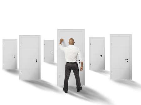 job opportunities: Businessman with various job opportunities Stock Photo