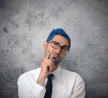 Creative thinking businessman with blue hair Stock Photo - 19609365