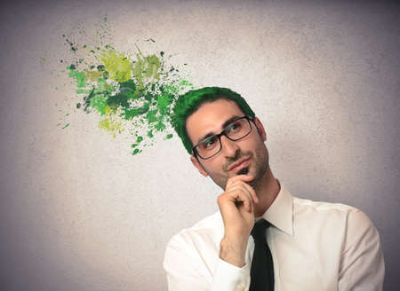 Creative thinking green of a businessman Stock Photo - 19609324