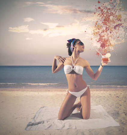 beach towel: Concept of vintage girl at the beach