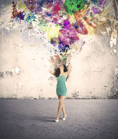color image creativity: Explosi�n creativa de una chica de moda Foto de archivo