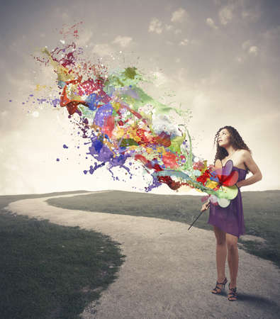 pinwheel: Girl with catherine wheel paint the gray panorama