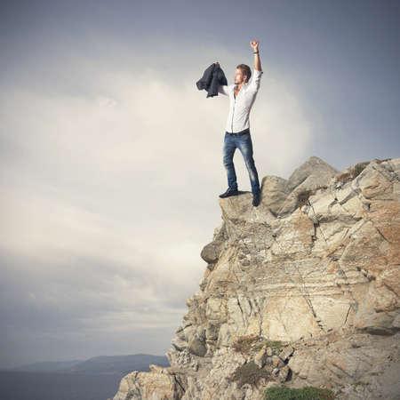 山の上の成功するビジネス人