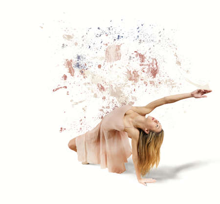 Dancer paints the white background photo