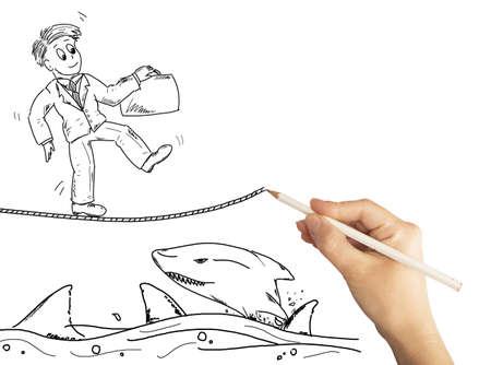 zeichnen: Handzeichnung die Lösung für Business-Probleme Lizenzfreie Bilder