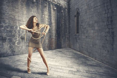 woman prison: Beautiful fashion girl and evasion concept Stock Photo
