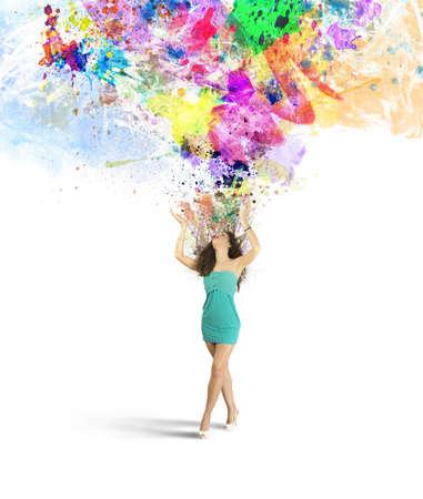 color image creativity: Explosi?n creativa de una chica de moda