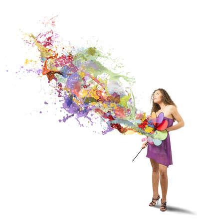 de colores: Chica con la rueda de catherine pintar el blanco Foto de archivo