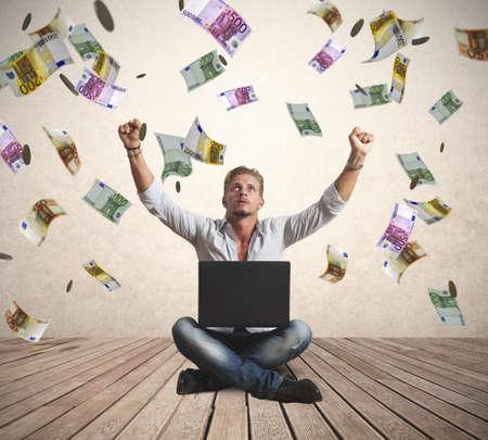 money rain: Concept of success of a businessman with money rain