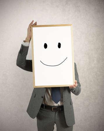 semblance: Imprenditore Optimist con il sorriso disegnato