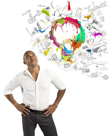 Concept of creative business with businessman and new idea Stock Photo - 20411733