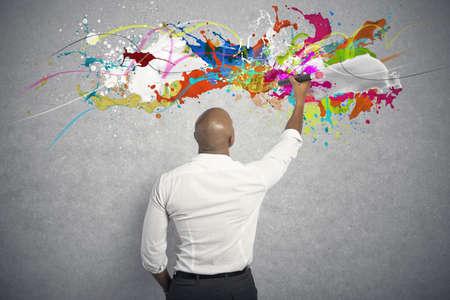pintor: Concepto de negocio creativo con dibujo de negocios