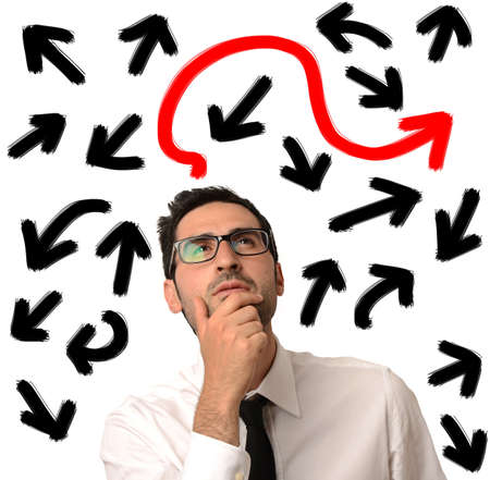 Confused businessman looking for the correct way Stock Photo - 20411730