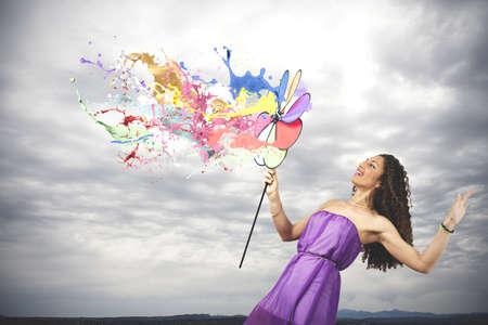 Colorful fashion concept with catherine wheel photo