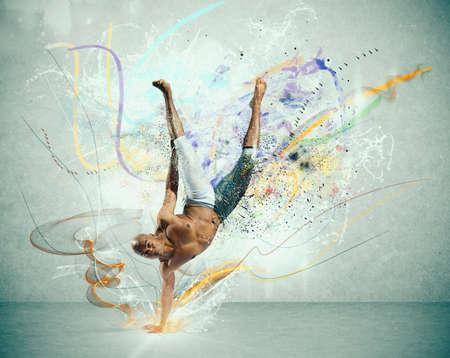 akrobatik: Moderner Tanz mit bunten Motion-Effekt