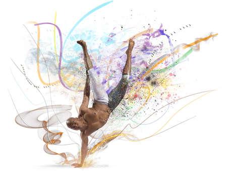 baile moderno: Danza moderna con efecto de movimiento colorido