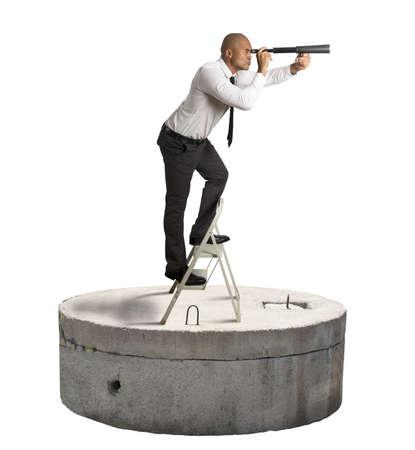 seek: Businessman seek a solution to the crisis Stock Photo