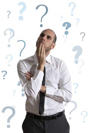 Zakenman denken over de zakelijke problemen Stockfoto