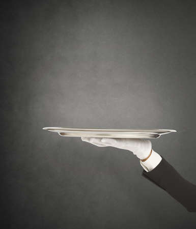 servant: First-class service with waiter holding the tray
