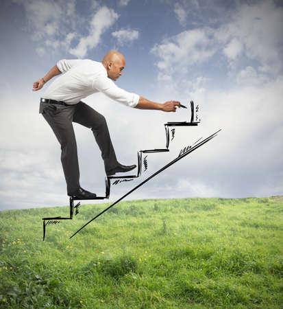 ビジネスマンのキャリアと機会の概念