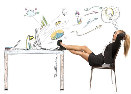 stress free: Successful businesswoman relaxing on a drawing of a desktop