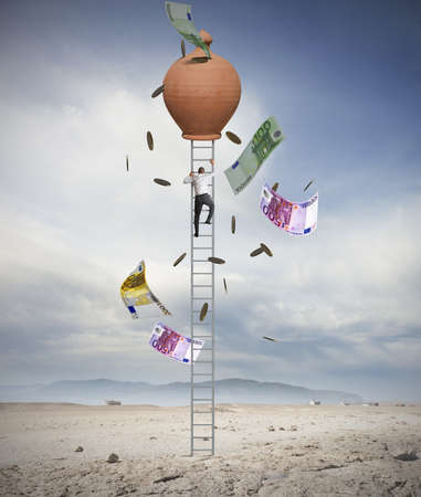 crecimiento: Empresario subir escaleras para alcanzar el éxito