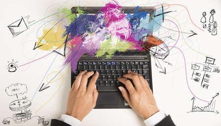 ノート パソコンで仕事でマルチタスク実業家 写真素材
