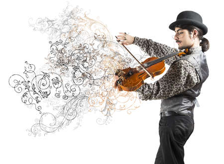 Young violinist with vintage flower effect photo