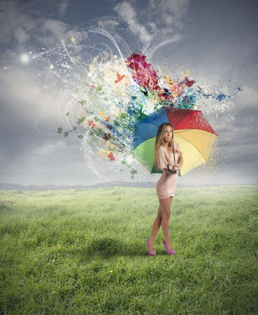 Creative fashion with woman and umbrella