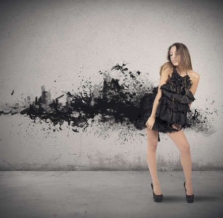 Concept of creative fashion style with motion effect photo