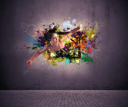 sprays: Girl exit from a picture. Concept of creative fashion