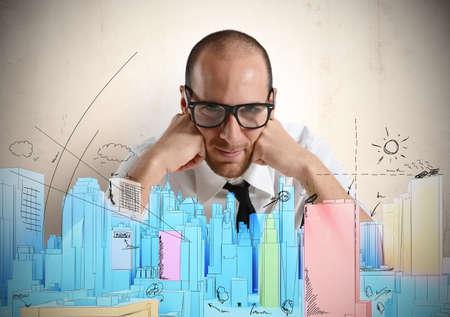architect: Arquitecto y croquis visi�n de un nuevo proyecto