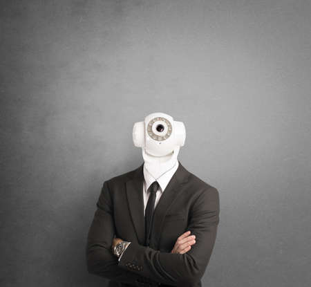Businessman with security camera in the head photo