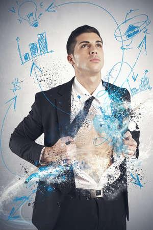 ビジネス: ビジネス シンボルを持ったスーパー ヒーロー ビジネスマンの概念