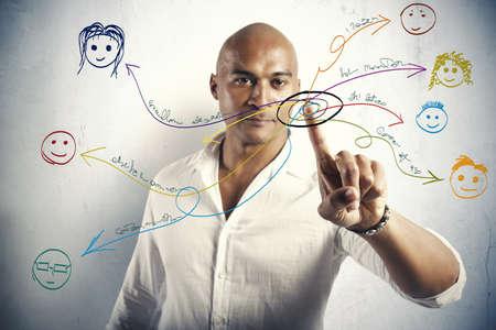 conexiones: Concepto de red social con dibujos de personas