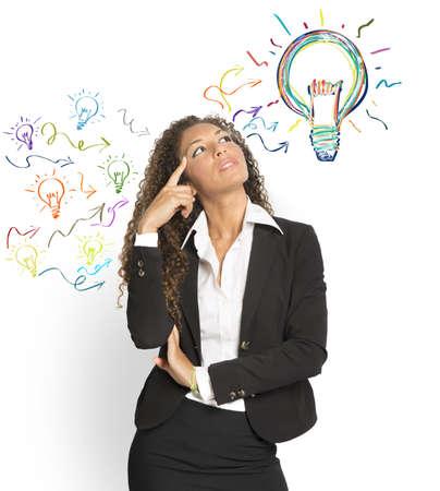 ideas brillantes: Concepto de la creaci�n de una gran idea Foto de archivo
