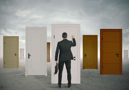 door man: Concept of opportunity of a businessman