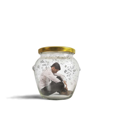 troubles: Concept of hermetic businessman closed in a jar