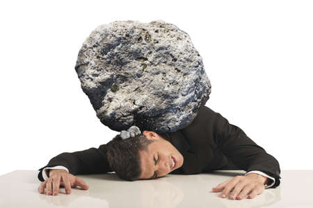 exertion: Stress of a businessman with a big rock