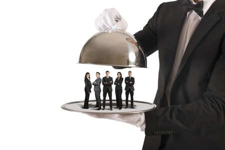 Concept van de zakelijke dienstverlening en First Class team