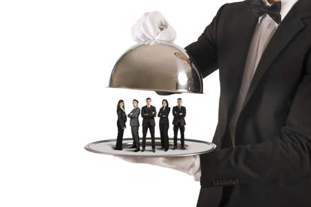 meseros: Concepto de servicio de negocio y equipo de primera clase