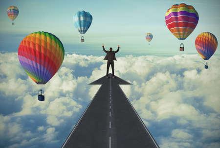 Zakenman en De weg naar succes concept