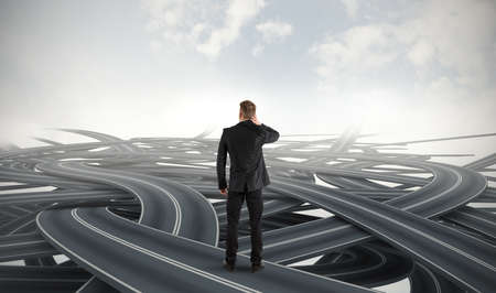 adversity: Difficult choices of a businessman due to crisis Stock Photo