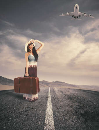 Concept of girl ready to travel Stock Photo - 21133879