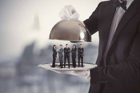 Concept of business service and First Class team Stock Photo