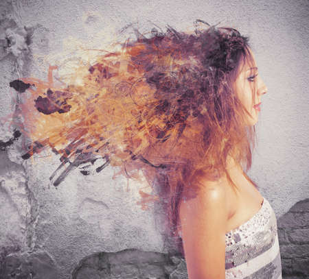 Creative hairstyle concept with motion effect photo